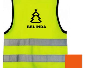 Child Vests Printed Children Baby Reflective Safety Custom Logo & Name Yellow Orange Hi Visibility Text Back Sport School Baby to 12 yrs