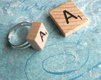 Mini Scrabble Tile Jewelry .. Spunky post earrings, adjustable ring, pendant with loop .. wood squares .. fun bachelor party or wedding gift