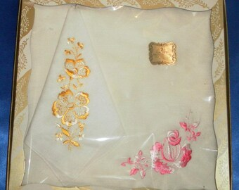 Vintage Gift Box of 2 Satin Embroidered Pink & Yellow Cotton Hankies / Handkerchiefs - New Old Stock