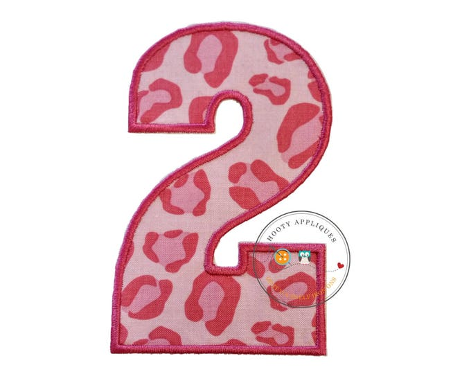 Large pink cheetah print number 2- iron embroidered fabric applique patch embellishment- ready to ship