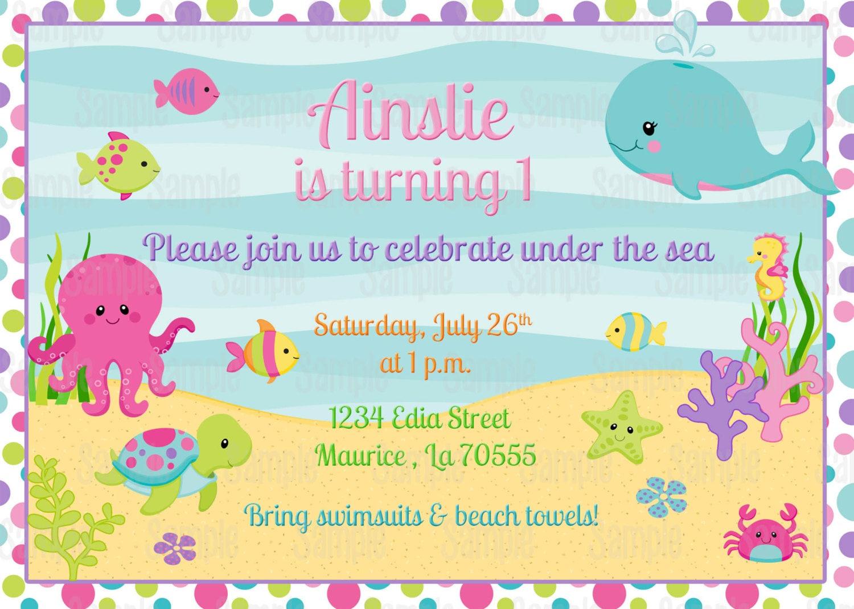 Printable Girl Under The Sea Birthday Invitation plus FREE