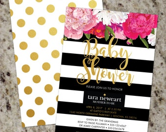 Baby Shower Invitation | Floral Baby Shower Invitation | Kate | Floral Striped Invite | Gold | Black White | Print Your Own | Spade
