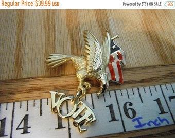 """Surprise Sale RARE! Designer """"DaneCraft"""" Partiotic Golden Eagle """"Vote"""" Brooch! Gold Plated/Tone Eagle and Enameled American Flag Brooch   {G"""