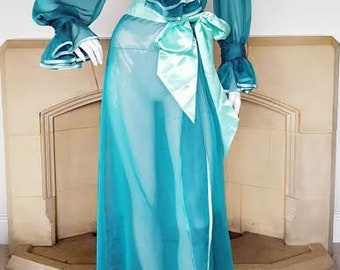 The Aqua Mermaid Jade Vixen Peignoir. Dressing Gown Robe that Bring Glamour Back To The Boudoir.  Based on Vintage Patterns