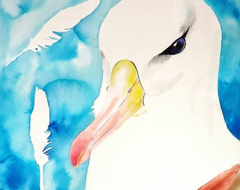 Black-browed albatross Original Watercolor Painting beach house decor seagull children marine nursery decor sea gull father's day present