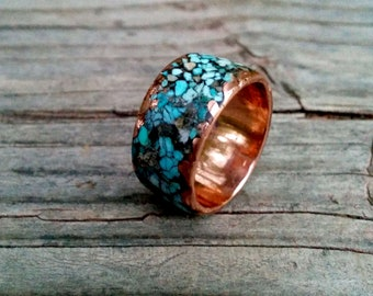Mixed Turquoise Copper Ring Band. 8mm, 10 mm wide.