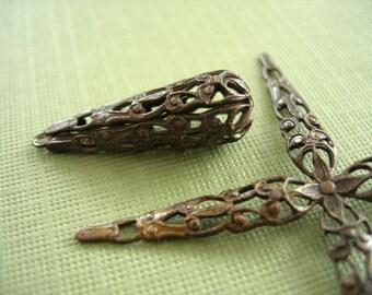 Vintaj Brass Tröpfchen filigrane wickeln, Vintaj filigrane Perlen, 9 x 27mm Vintaj Brass, einteilig