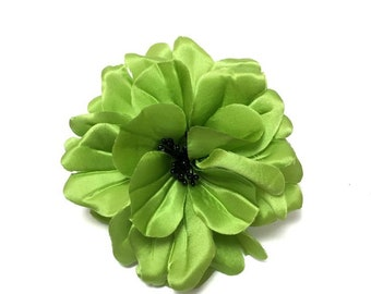 "4"" Green Satin Magnolia Flower Pin"