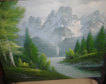 Vintage Oil On Canvas/ Trees/Snow Covered Mountain/ Waterfall/ Stream/Signed