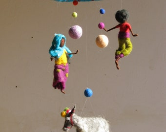 Needle felted Waldorf inspired mobile Memory of India