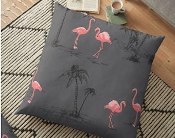 Flamingo Grey Palm Tree Throw Cushion - 30 x 30cm - Cushion - Decorative Cushions - Interior Decor - Soft Furnishing - Filled Cushion
