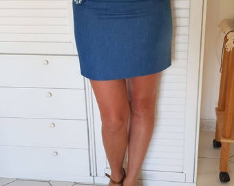 Hand sewn JEANS skirt with lining.