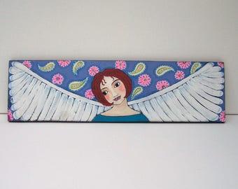 Folk Art Angel Painting Boho Paisley One of a Kind original Art