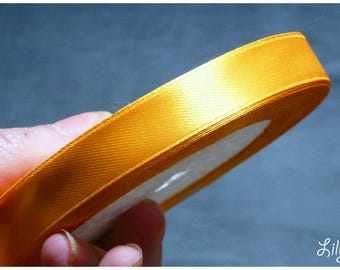 1 meter of Ribbon in satin apricot orange honey 12mm