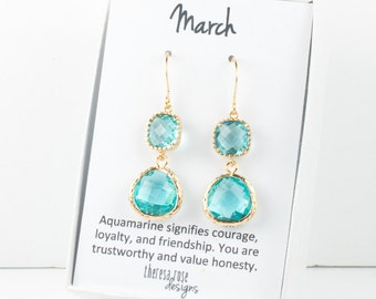March Birthstone Gold Earrings, Long Aquamarine Gold Earrings, March Aquamarine Earrings, Aquamarine Birthstone Jewelry, Bridesmaid Earrings