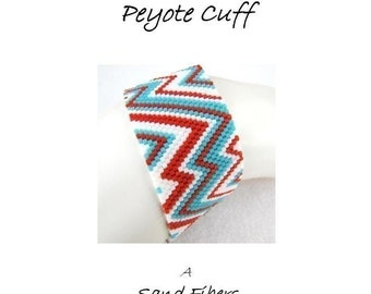 Peyote Pattern - Abstract Southwestern Peyote Cuff / Peyote Bracelet  (extra long ) - A Sand Fibers For Personal Use Only PDF Pattern