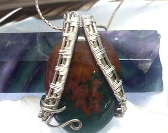 Ocean Jasper Wire Wrapped Necklace