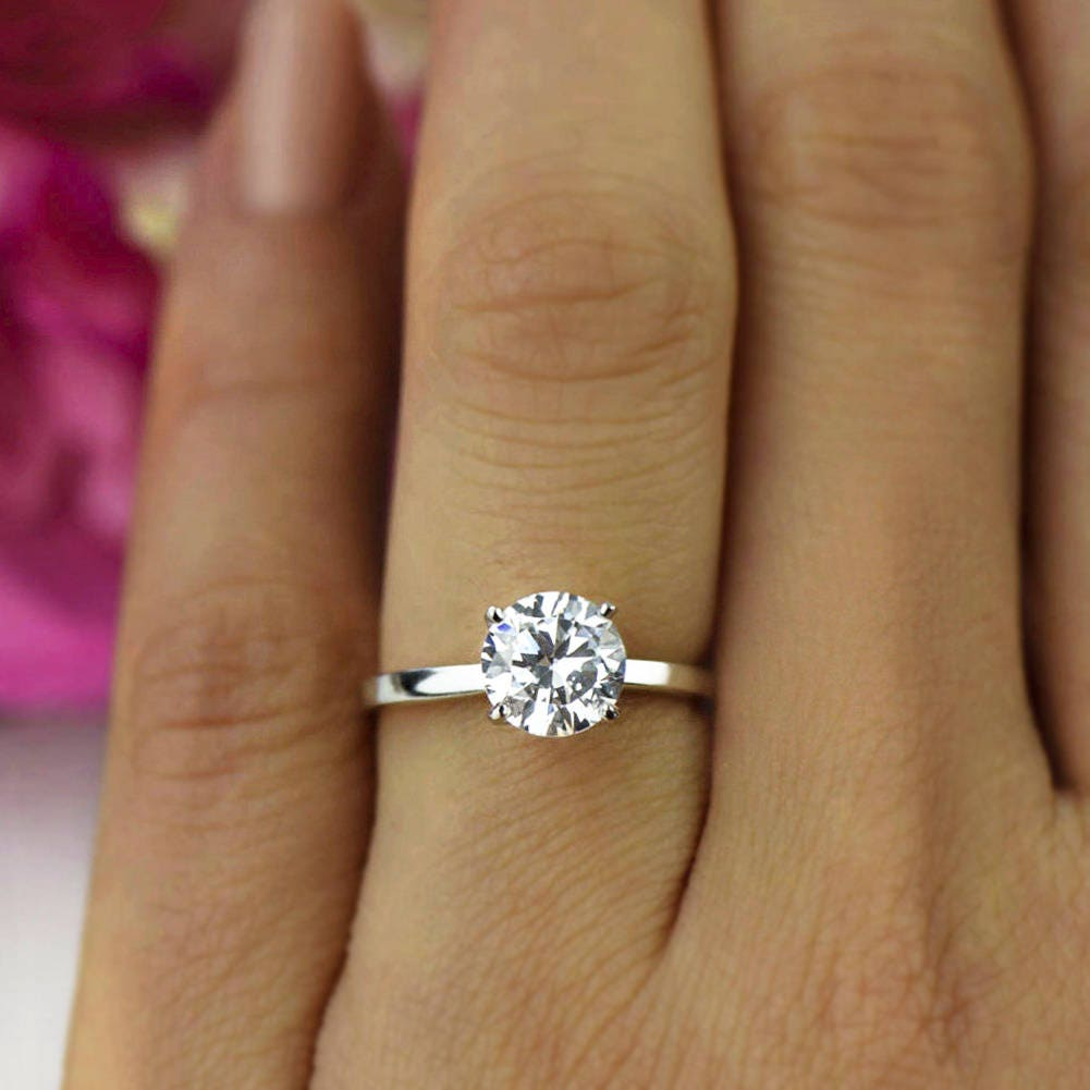 classic plated rings prong four tapered engagement in sterling p over ring silver white gold