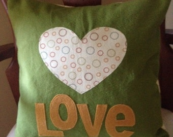 Heart and Love - Decorative Nursery Pillow  - 14 x 14