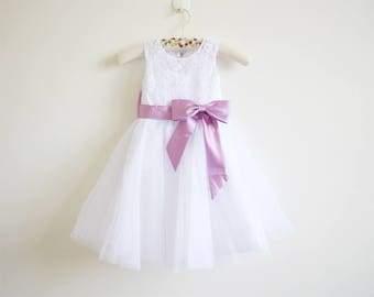 White Flower Girl Dress Lace Lilac Baby Girls Dress Tulle White Flower Girl Dress With Lilac Sash/Bows Sleeveless