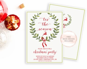 Christmas Party Invitation, Christmas Invitation, Christmas Dinner Invitation, Christmas Cheer, Rustic Christmas Invitation, Reindeer [353]