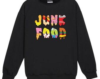 Junk Food Sweater Jumper Womens Ladies Fun Tumblr Hipster Swag Fashion Grunge Kale Retro Top Goth Cute Burger Fries Ice Fast Rainbow Kawaii