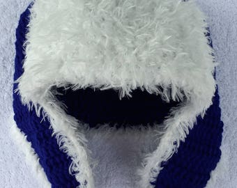 Blue Crocheted Tassel Adult Hat With Earflaps