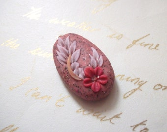 Hand crafted flower pendant, unique, ooak, polymer clay, vintage inspired, boho,