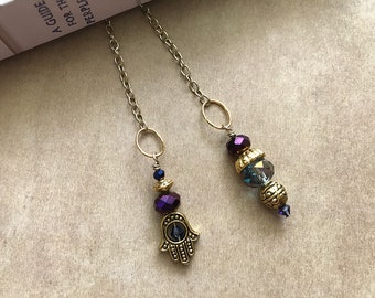 Gold Hamsa and Crystal Book Thong Bookmark (2 colors)