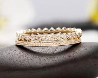 Set of 2 14K Yellow Gold Ring Set/Line Design Ring & Diamond Eternity Ring Set/Engagement Wedding Diamond Ring Set/Promise Rings/Gift Ring