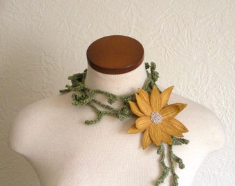 Sunglow Yellow Lotus Flower with Green Lariat Scarf-  Fiber Art Scarf- Embroidered Silk Flower Lily Clip with Crochet Scarflette