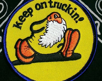 Vintage Robert Crumb 1970's Mr. Natural ''Keep On Truckin!'' Embroidered Iron -On Patch 3''