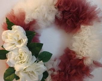 Maroon and Ivory Tulle Rose Wreath / wedding wreath / rose wreath