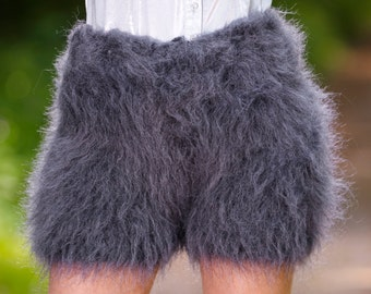 Made to order hand knit shorts, thick and fuzzy mohair short pants in gray bluish graphiteby SuperTanya