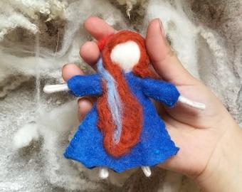 fairy doll elf, blue pocket fairy, Waldorf bendy doll Waldorf bendable doll, doll house princess, felt bendable doll, elf kendal, bendy doll