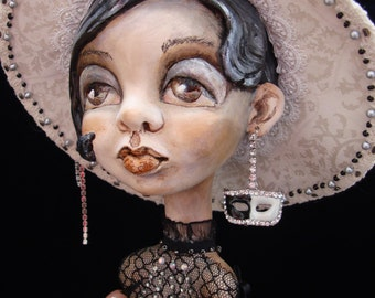 Domino art doll - Black and white interior figurine - Collectible OOAK doll as gift - Big eyed girl with hat