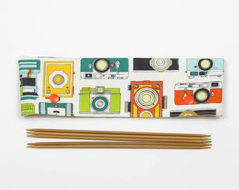 "20cm / 8"" camera DPN cozy, sock DPN holder, retro double pointed knitting needle keeper, gift for knitter"