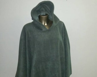 Men's or Women's Olive Green One Size Fits All Hooded Anti-Pill Fleece Poncho With Front Pocket