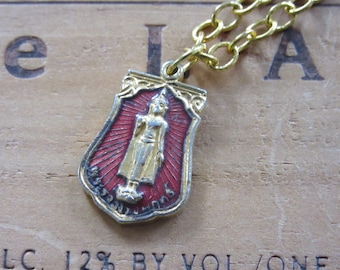 Vintage Red Buddha Buddhist Medal Necklace