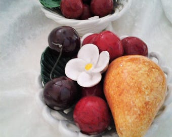 Pair of Bassano Porcelain Bowls of Cherries - Made Italy