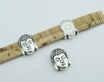 10units For 10mm flat leather slider Antique sliver Buddha head slider  jewelry finding supplies D-1-10-139