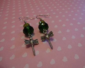 Dragonfly Green Crystal Beaded Dangle Earrings