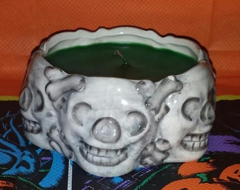 Ceramic Skull Container Candle, Skull Candle