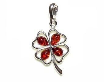 Amber clover necklace-silver clover pendant-cognac clover jewelry-133B
