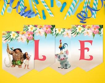 Moana Birthday Banner, Moana Banner, Baby Moana Banner, Instant Download