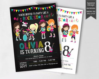 Rock Star Invitations, Rockstar Party, Pop Star Invitation, Rock Star Birthday Party, Rock Star Girl Birthday Invitation - JPEG & PDF File