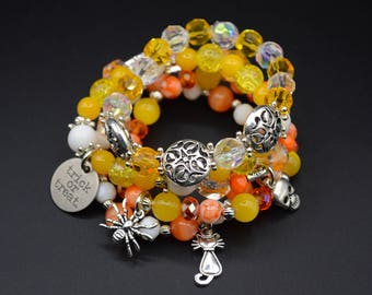 Halloween Stretch Bracelet Set of 5 Beaded Jewelry Handmade Bracelet Candy Corn Color Yellow White Orange