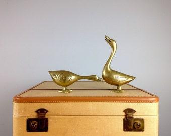Brass Ducks, Mid Century Brass Duck Set, Home Decor, Hunting Cabin, Woodland Creature, Brass Figurine