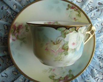 Prussia Royal Rudolstadt Hand Painted - Porcelain Decorative Tea Cup and Saucer - White and Pink Flowers with Gold Trim and Handle