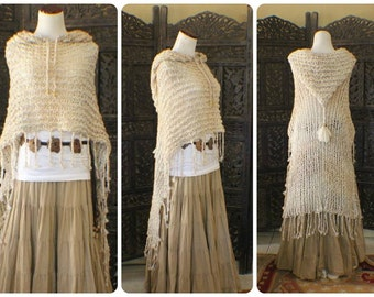 Cream Pearl multi fade Hooded poncho with twisted fringe